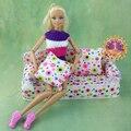Мини кукольный дом мебель цветок мягкой тканью диван с 2 подушки для барби дома игрушки