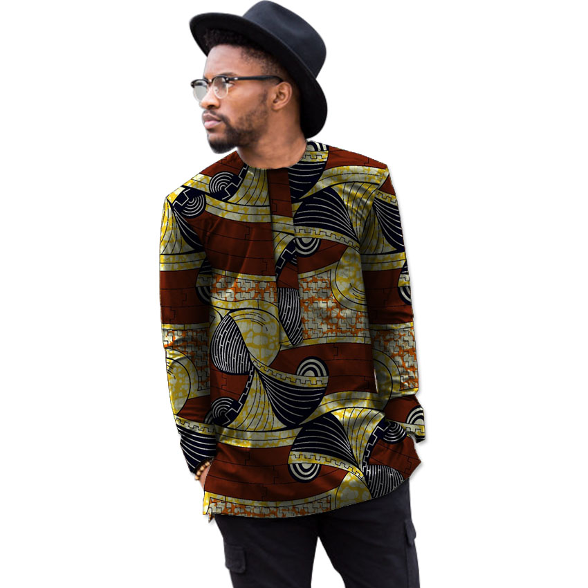 Africa print mens long sleeve t-shirt fashion african shirt man dashiki clothes customized festival africa clothing