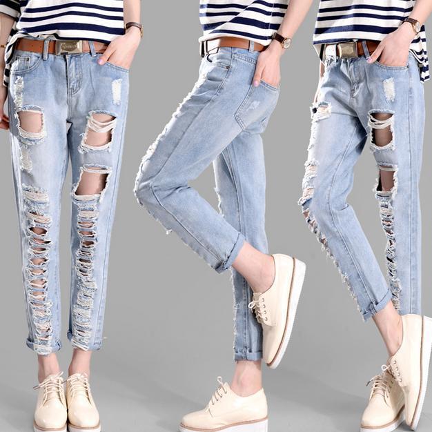 b02e96601b97 BF jeans pants women hole ripped designer jeans women trousers brand spring  summer capris pencil plus size