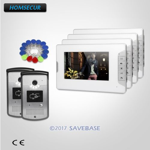 HOMSECUR 7inch Wired Video Door Entry Security Intercom with Intra-monitor Audio Intercom