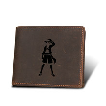 One Piece Luffy Anime Wallets Men Coin pocket Purse RFID Protection Credit card Holders engrave Name Genuine Leather wallet men(China)