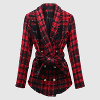 In Stock TOP QUALITY Ladies Long Sleeve Tweed Wool Jacket Fashion Double Button With Belt Coat