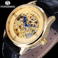 2017 Luxury brand FORSINING gold dial men watches blue skeleton point design fashion automatic self-wind skeleton watch / A845