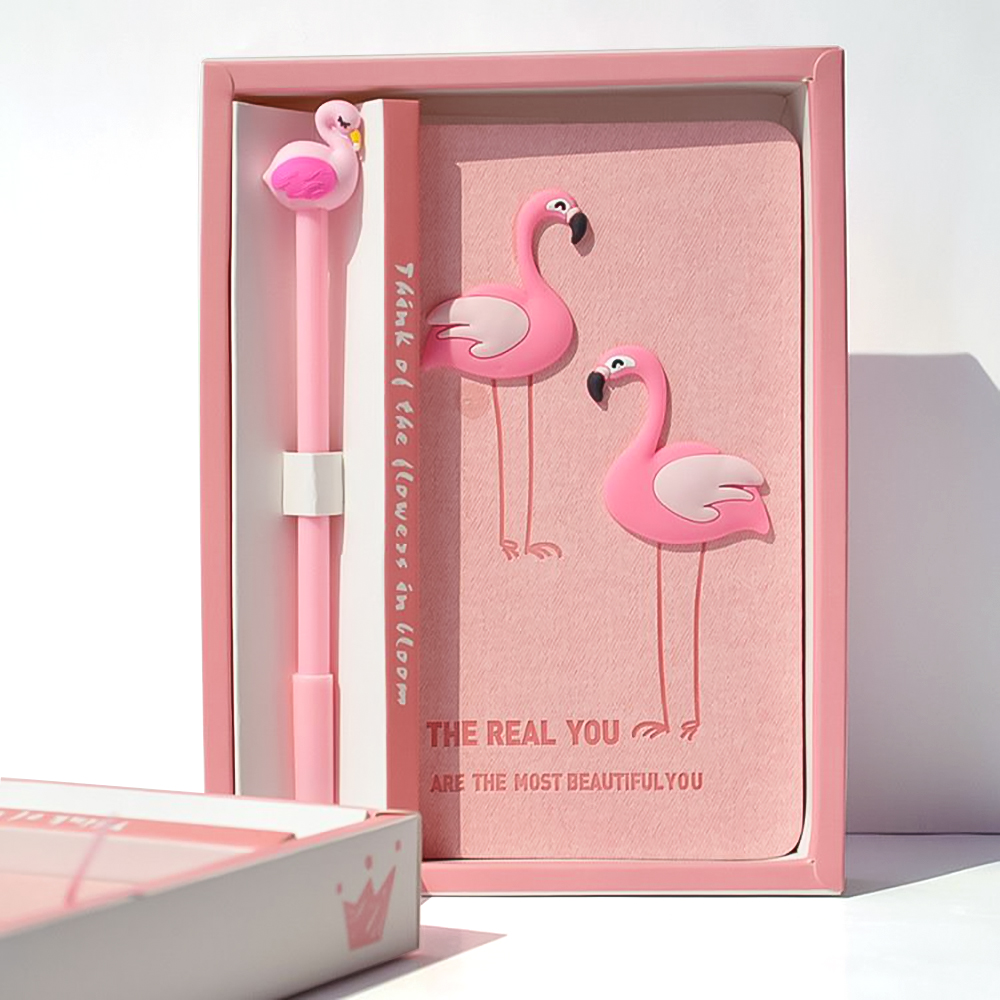 Flamingo Handbook Set Girl Gift Travel Planner Notebook Lovely Simple Notebook Stationery