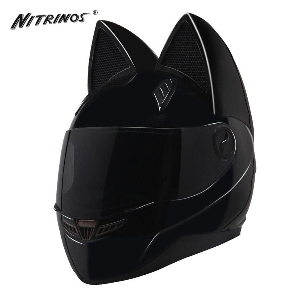 Nitrinos capacete da motocicleta mulheres motocross rosto cheio capacete moto flip up viseira de moto novidade casque