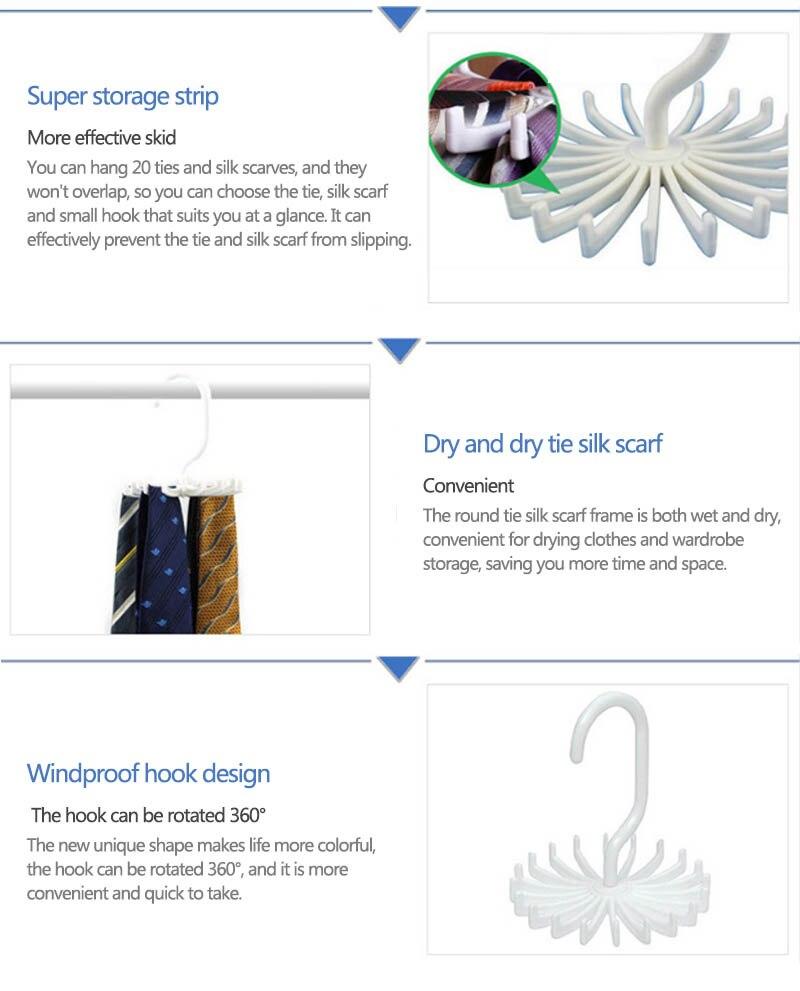 Держатель для галстука на шею, компактный многофункциональный 1 шт. пластиковый 20 крючков, вращающийся на 360 градусов ремень, вешалка для галстука на шею