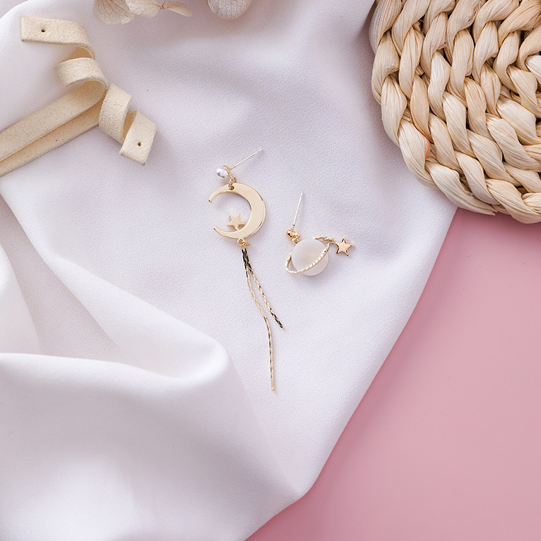 19 Shell Star Moon Planet Asymmetrical Drop Earrings For Women Simulated-pearl Bead Pendientes Long Drop Tassel Earrings 8