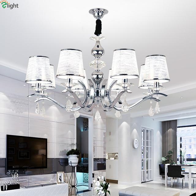 Modern Chrome Metal Led Pendant Chandelier Lights Crystal Living Room Chandeliers Lighting Bedroom Hanging Light Fixtures