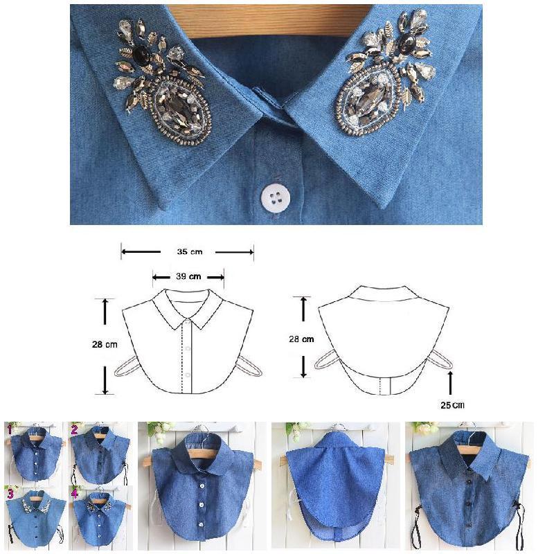 2019 Newly Droppshiping Fake Collar Shirt Jeans Detachable False Collars Blouse For Women Clothes Tops BFJ55