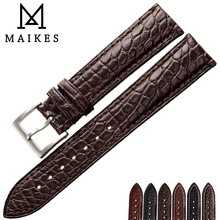 MAIKES Handmade Brown Watch Accessories Women Watchbands 14mm - 24mm Genuine Leather Strap For Brand Band wholesale