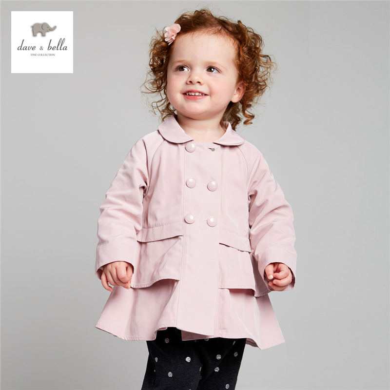 DB4009 davebella autumn baby girls hooded coat infant clothes girls red pink outerwear kids outerwear