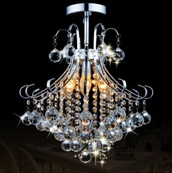 Crystal Chandelier with 3 lights (Chrome Finish) ,E14, For Kids Room, Bathroom, Living Room,Bulb Included,Free Shipping