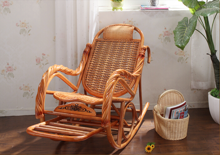 Luxury Rattan Chair Wicker Furniture Indoor Living Room Glider Recliner Modern Rattan Easy Adult Rocking Chair cheap indonesia imported rattan really rocking chair recliner happy elderly outdoor balcony couches promotions