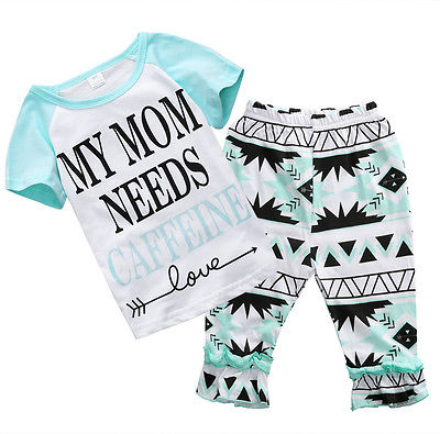 2pcs Toddler Kids Baby Girls Summer T-Shirt Tops Pants Beach Outfits Clothes Set