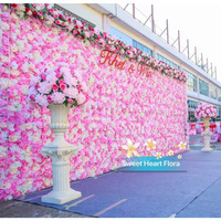 3.2M*2.4M Wedding Flower Wall Pink with White flower backdrop wedding stage decor including flowers and pipe stand