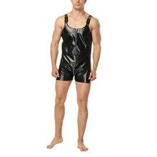 Sexy Men Faux Leather Bodysuit PU Jumpsuit Zipper Nightclub Party Catsuit