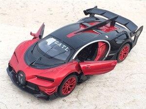 Image 3 - Coche electrónico Bugatti Veyron escala 1:32 de aleación fundida, juguete de modelo de coche, con luz de tracción trasera, juguetes para niños, regalo, envío gratis