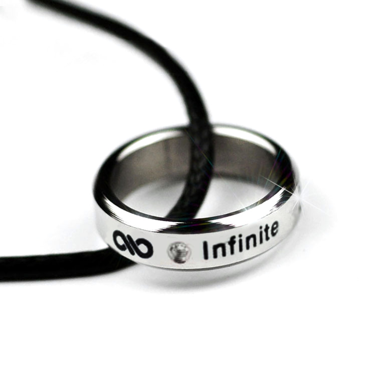 Kpop INFINITE birthday date titanium steel ring tail ring Infinity 8.5 size Send leather cord boxes k-pop anel men women Jewelry