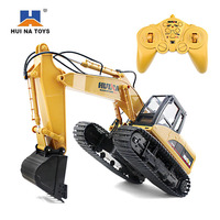 HuiNa Toys 15 RC Car 15CH 2.4G 1/14 RC Excavator Charging Car With Battery RC Drift Alloy Excavator Toys For Children Kids Toys