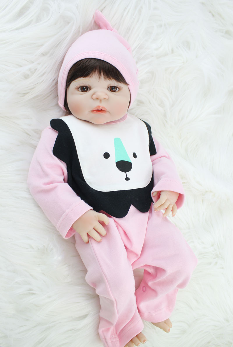 55cm Full Silicone Bebe Reborn Baby Doll Toy Realistic 22'' Vinyl Newborn Princess Babies Girl Bonecas Bebe Alive Kids Bathe Toy