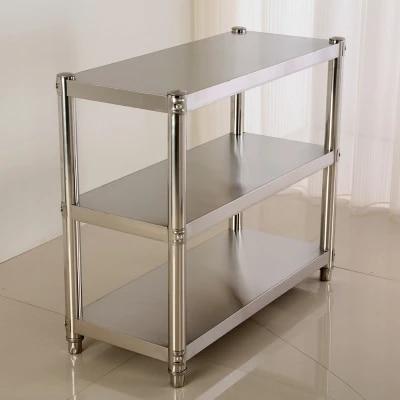 Stainless steel kitchen shelf racks 3 layer thickened shelves storage rack Hotel kitchen storage microwave oven rack Полка