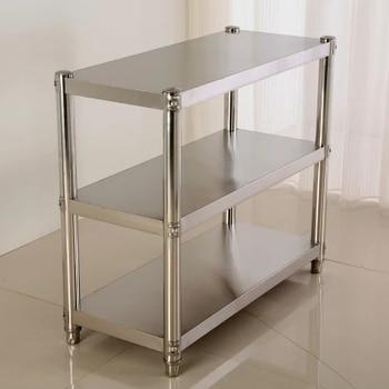 Stainless steel kitchen shelf racks 3 layer thickened shelves storage rack Hotel kitchen storage microwave oven rack 21035 lego