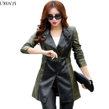 2XL 3XL New Autumn Lengthy Leather-based Trench Coat For Ladies chaquetas mujer Style Slim leather-based jacket New PU Women Coats Plus Measurement