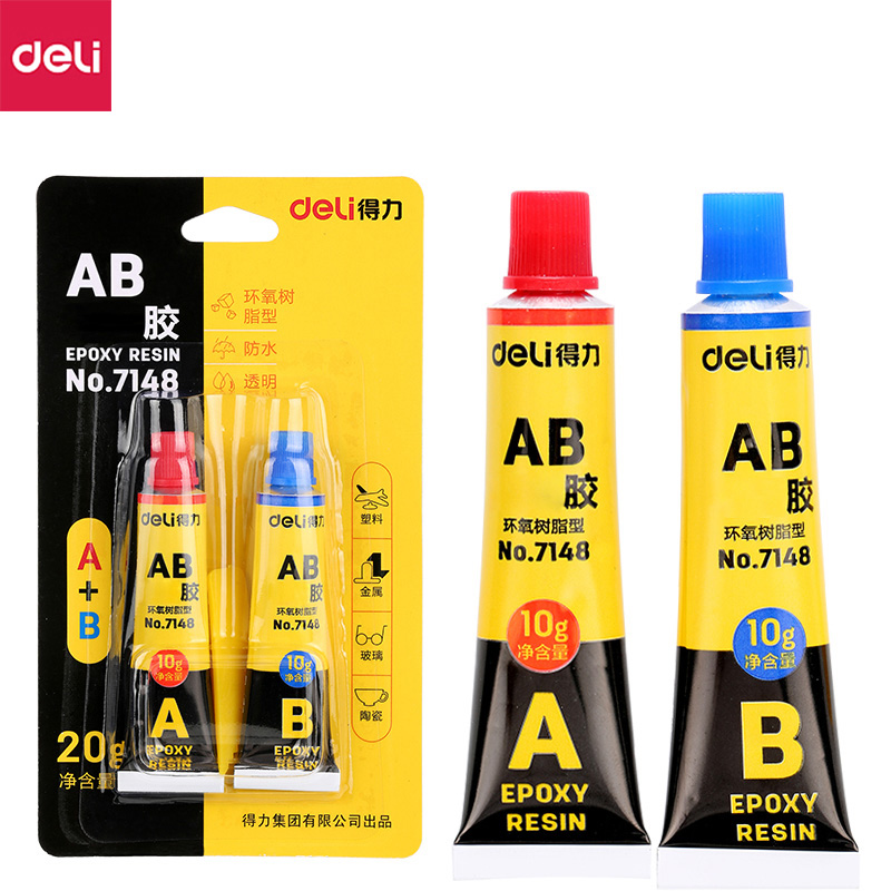Deli 7148 Epoxy Resin AB Glue Transparent Strong Plastic Metal Mold Glue 20g High Viscosity Universal Glue