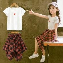 Модная одежда для девочек подростков 2019, летняя мягкая хлопковая футболка, клетчатая юбка, шорты, Детский костюм, комплект из 2 предметов для детей