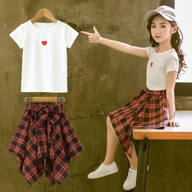 Fashion Teenage Clothes For Girls Clothing 2019 Summer Soft Cotton Tshirt Plaid Skirt Shorts Kids Outfits Suit 2Pcs Children Set
