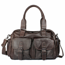 Oil wax genuine cowhide leather laptop travel crossbody Shoulder messenger High-capacity Leisure business man's coffee hand Bags