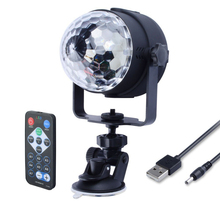 3W RGB LED Mini DJ Disco Ball Party Light Rotating Sound Activated Led Stage Lights KTV Xmas Wedding Party Light with IR Remote