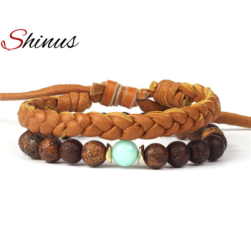 Shinus Leather Mala Beads Bracelets Women Mens Bracelet Men Couple Jewelry Pulseira Masculina Chakra Beaded Handmade New Armband