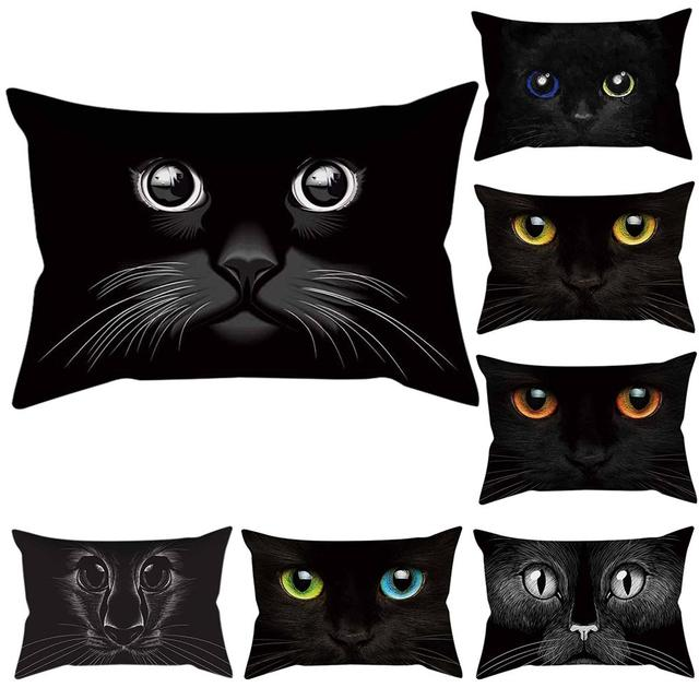Fashion 3D Mata Kucing Melempar Bantal Case Sofa Rumah Kantor Dekorasi Sarung Bantal