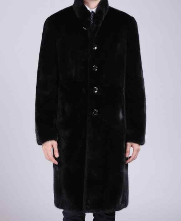 Мужское пальто с имитацией водной гривы длинное облегающее большого размера