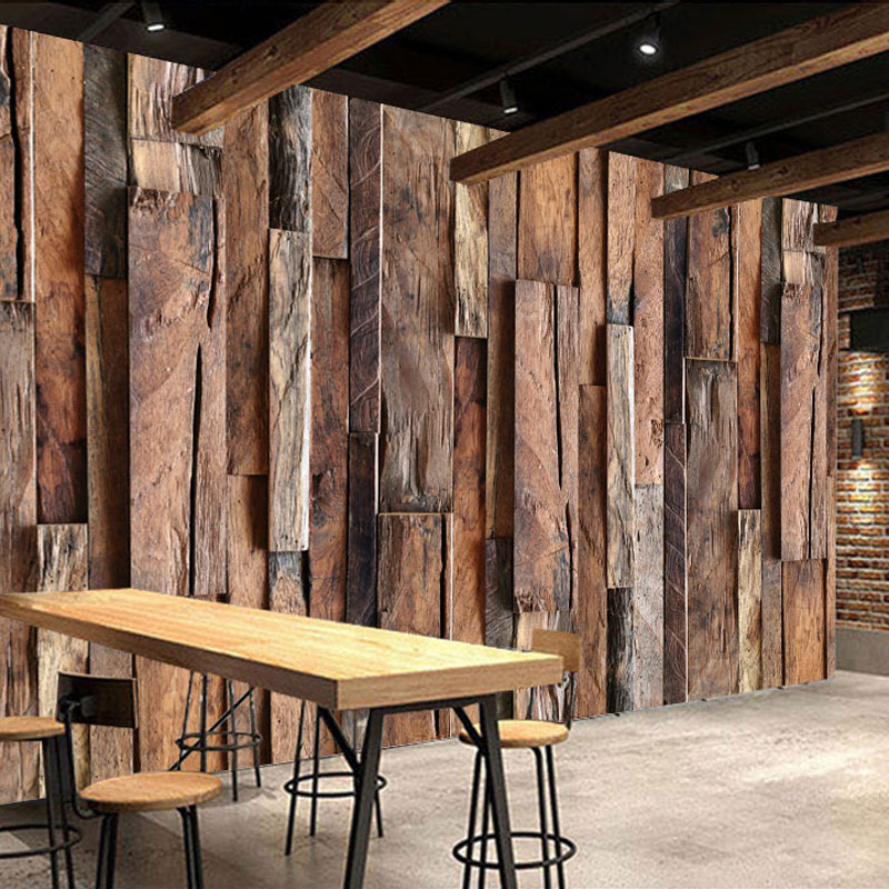 Vintage Wood Wall Photo Wall Paper Mural 3D Living Room Bedroom Wall Papers Bar Home Decor Self Adhesive Vinyl / Silk Wallpaper