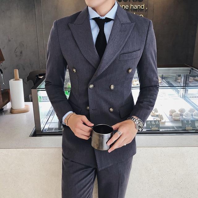 double breasted blazers mens 2018 Grey blazers masculino Slim Fit Black  chaqueta hombre formal mens business dabd408f3cc