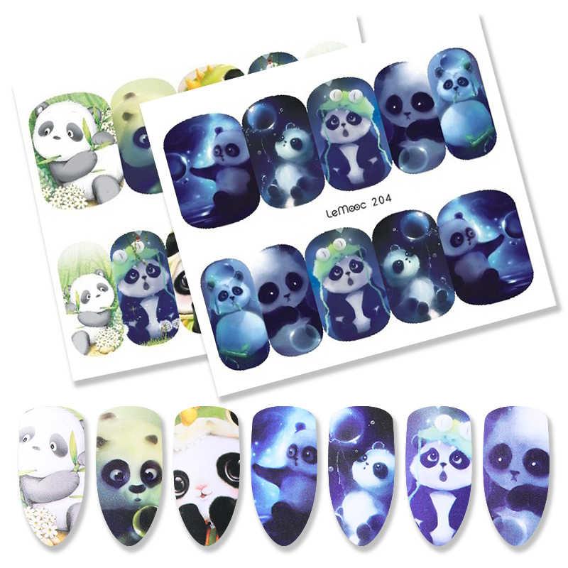 Lemooc 1 folha de transferência de unhas adesivo água decalque bonito animal projetos decoração da arte do prego para manicure marca dwaterágua