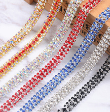 1 Yard 10MM 3 Row Colorful Rhinestone Trims Crystal Cup Chain Trim for DIY Dress Clothing Jewelry Making Bags