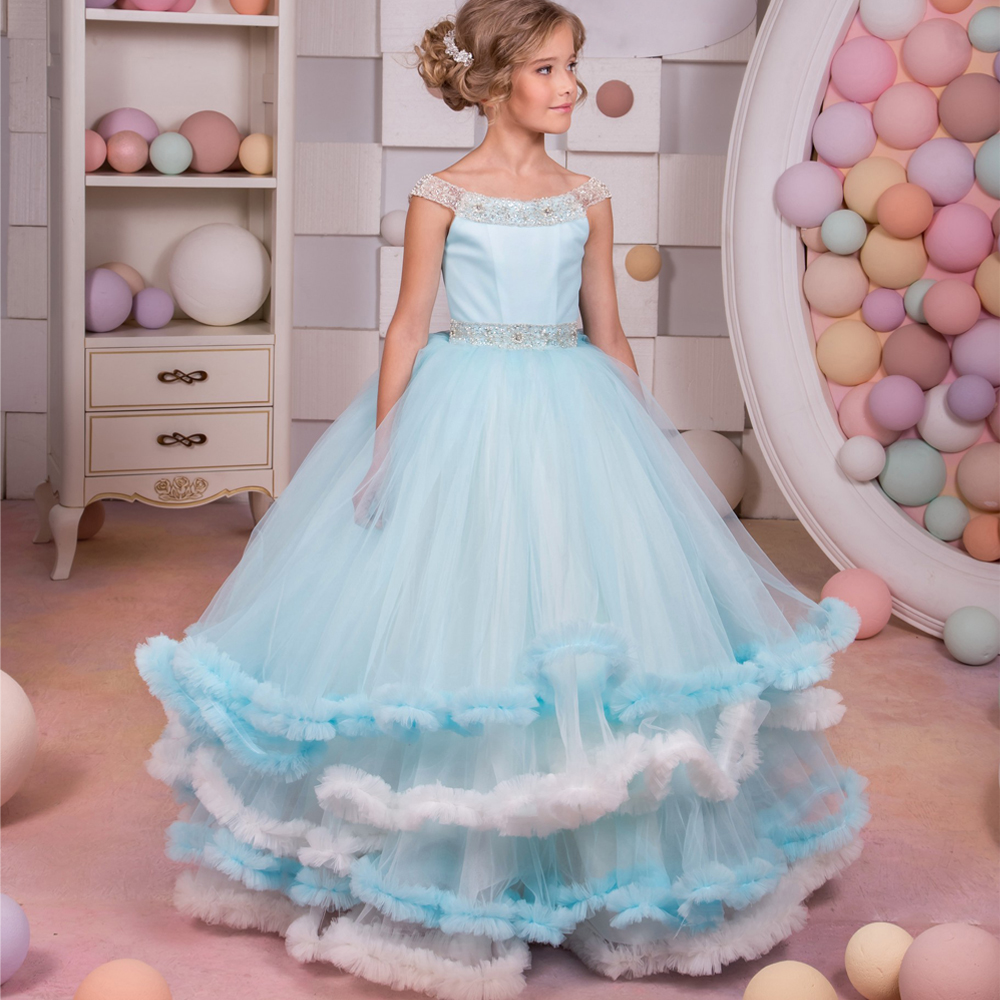 2017 New Flower Girl Dresses for Weddings Blue Sleeveless O-neck Ball Gown Beading Formal Lace Up Pageant Birthday Gowns Vestido gorgeous lace beading sequins sleeveless flower girl dress champagne lace up keyhole back kids tulle pageant ball gowns for prom