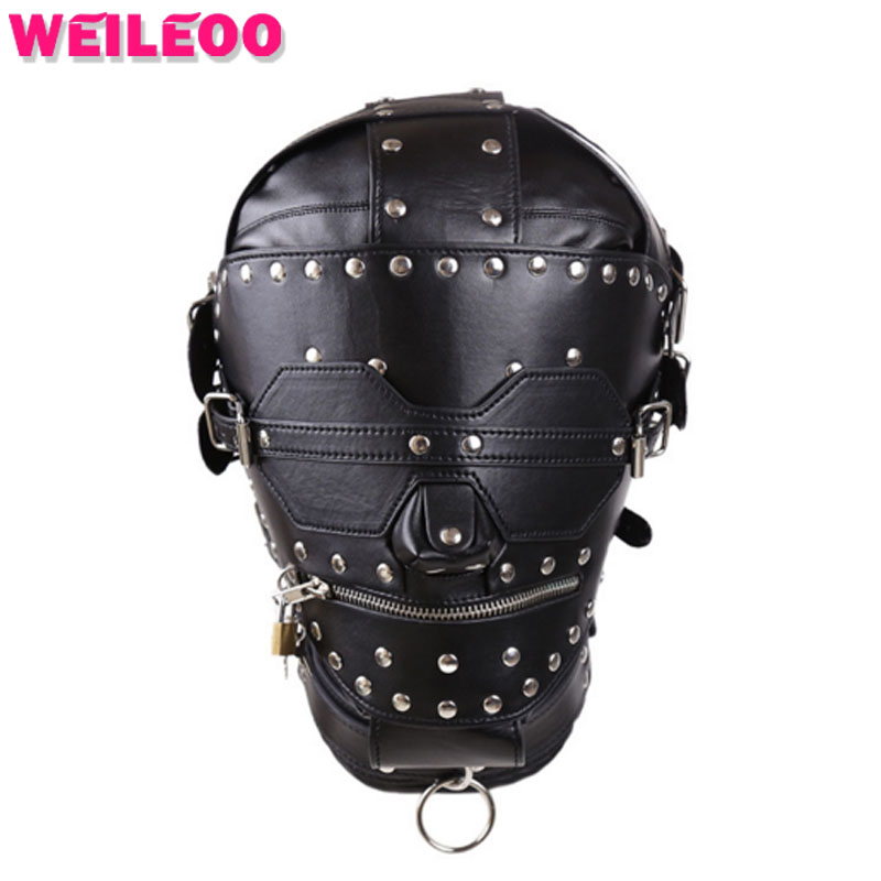 Rivet trim full covered sex mask slave bdsm sex toys for couples fetish mask sex toys bdsm bondage mask erotic toys adult games