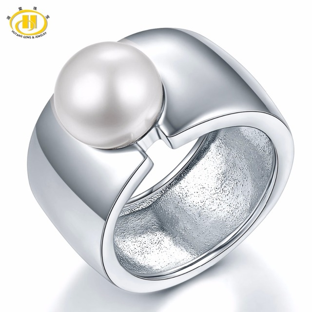 Hutang Pearl Jewelry Big Band White Natural Freshwater Pearl Solid 925 Sterling