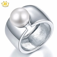 Hutang Pearl Jewelry Big Band White Natural Freshwater Pearl Solid 925 Sterling Silver Rings For Women Fine Jewelry Xmas Gift