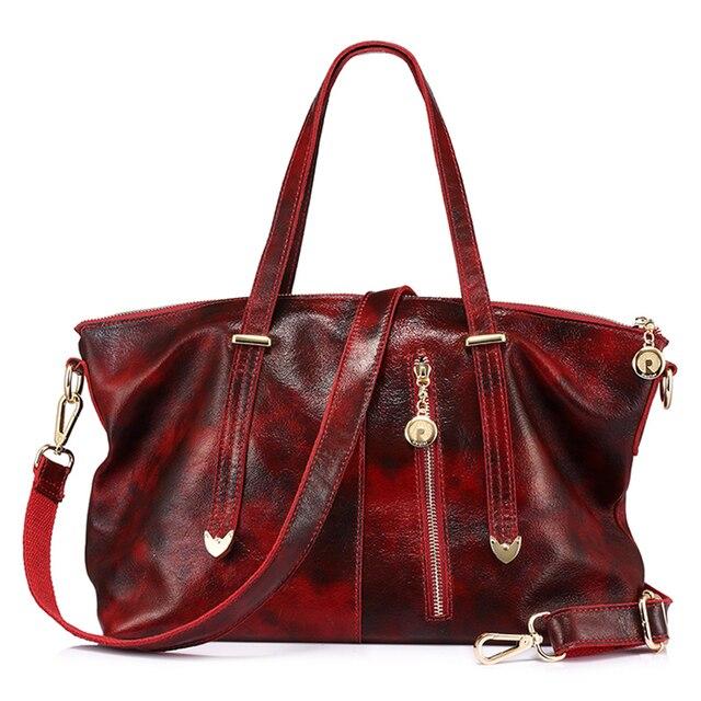 Женская ручная сумка с короткими ручками из натуральной кожи REALER