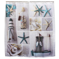 1pcs High Quality Ocean Decor Collection Starfish Seascape Sea Beach Picture Print Bathroom Set Fabric Shower