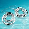 Женщины из натуральной сплошной чистый серебро круг серьги 925 чистое серебро леди в серьги