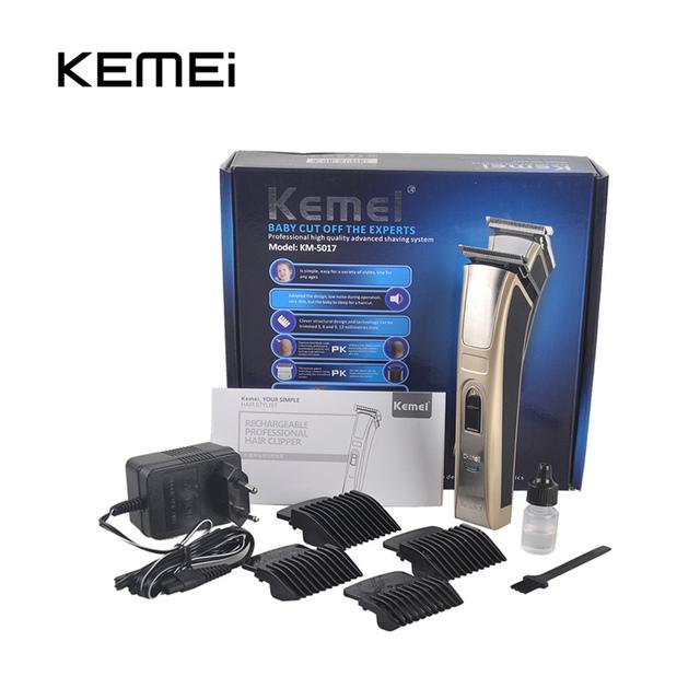 Kemei KM-5017 Hair Trimmer Eléctrico Recargable Clipper Pelo de Alta Potencia Impermeable para Los Hombres Bebé Niños Cortadora de Cabello Peluquero Cu