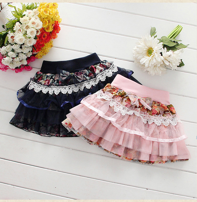 NEW Baby Girl Skirt Spring Autumn Fashion Lace Flower Cotton Bow Casual Mini Skirt Girls Tutu Skirt Fashion Kids Clothing dabuwawa autumn women fashion sexy plaid skirt elegant mini pleated skirt short streetwear asymmetrical skirt d17csk031