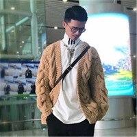 Новое поступление 100% ручной работы из чистой шерсти перекрестная вязка моды для мужчин Vneck Твердые свободный свитер кардиган Индивидуальны