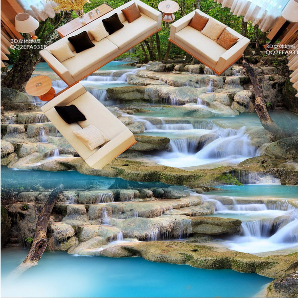 Free Shipping custom Mountain creek Landscapes 3D floor wallpaper self-adhesive non-slip wear floor wallpaper mural
